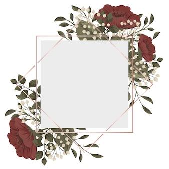 赤い花のフレームの赤と白の花