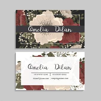 名刺テンプレートの赤と白の花