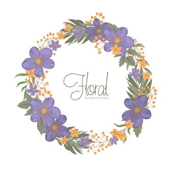 花輪の境界線と青い花の背景