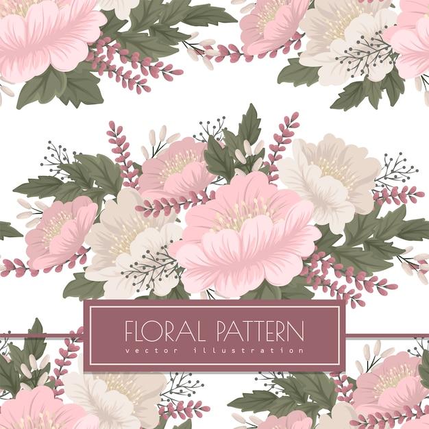 花のベクトル-ピンクの花のシームレスパターン