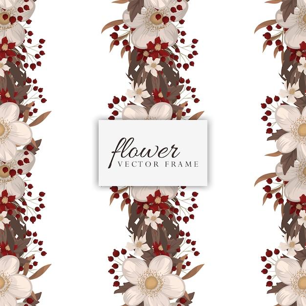 赤い花柄シームレス