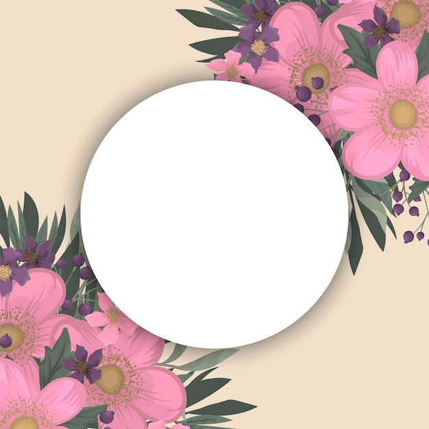 Розово-фиолетовая цветочная рамка