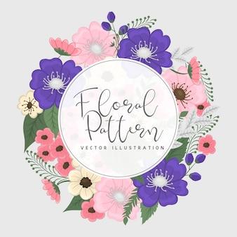 ピンクとブルーの花の花輪フレーム