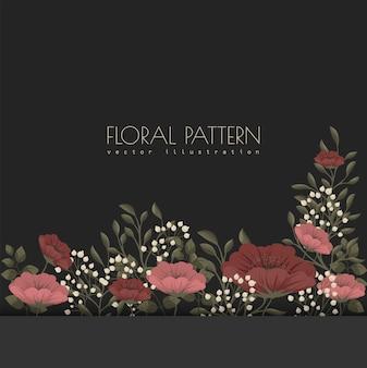 暗い花のフレームの赤と花