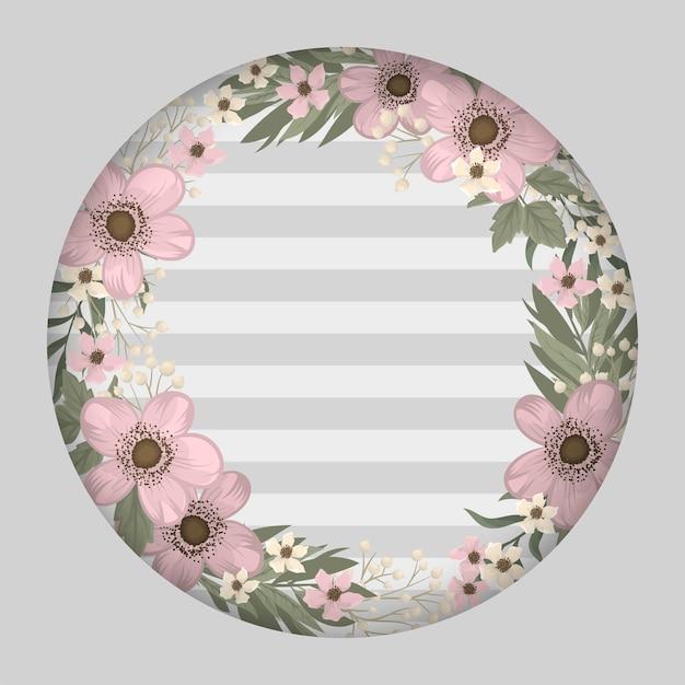 Розовый цветок иллюстрация цветочная рамка