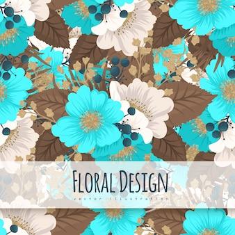 ミントグリーンの花背景シームレスパターン