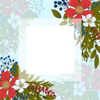 より少ないページボーダー-赤、水色、白の花
