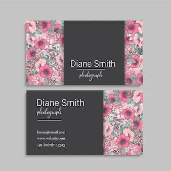 Шаблон визитки розовые цветы