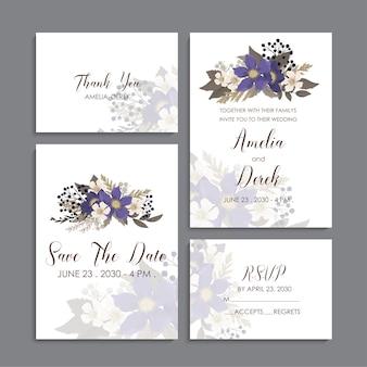 Цветочный свадебный шаблон - синие цветочные открытки