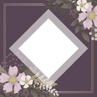 背景の花-赤、水色、白い花の花輪
