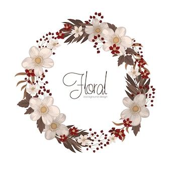花の花輪の描画-花と赤い丸フレーム