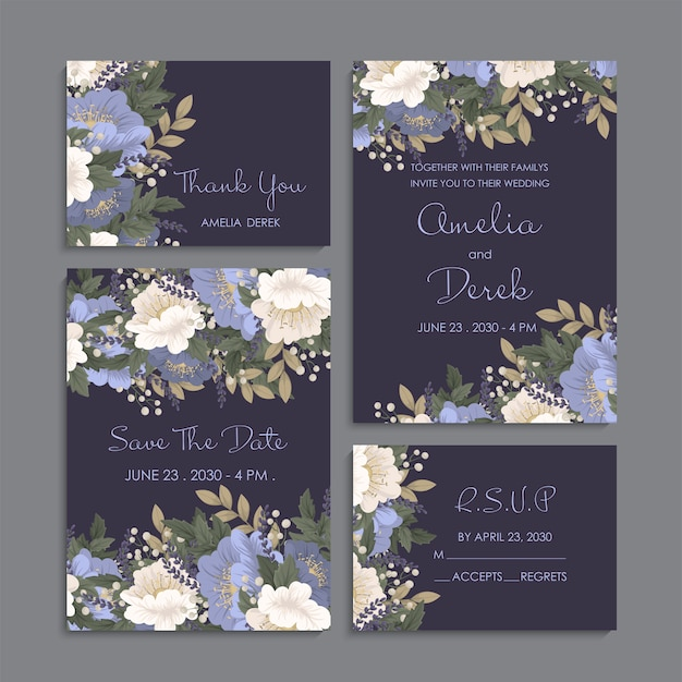暗い花の背景の結婚式セット