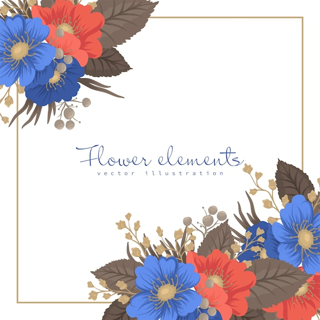 花ボーダーデザイン-花フレーム