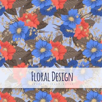 花柄の背景-青と赤の花