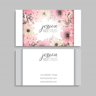 Цветочные визитки розовые цветы