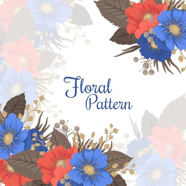 花ページボーダー-青と赤の花