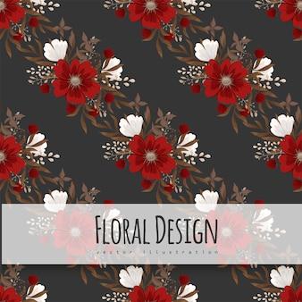 花柄の背景-赤い花