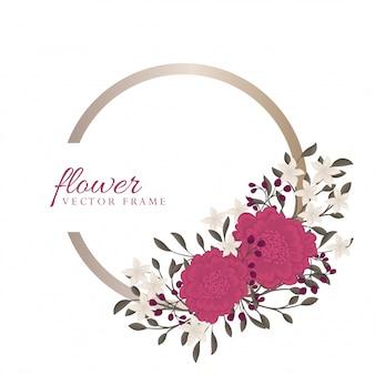 紫色の花ボーダー-花のフレーム