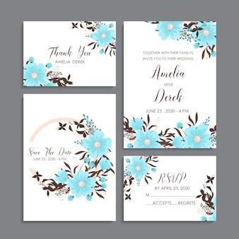 花の結婚式のテンプレート-ライトブルー花カード