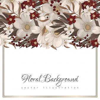 花の境界線の背景-赤い花