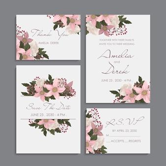 ピンクの花-結婚式招待状セット