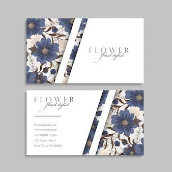Цветочные визитки синие