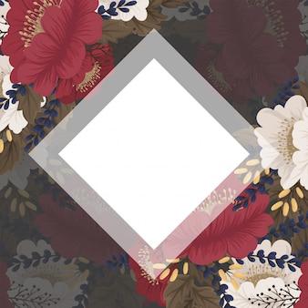 Цветочная рамка с красными цветами