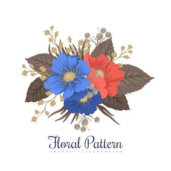 クリップアートの花の青と赤の花
