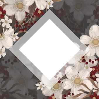 Цветочная рамка рисунок красной рамкой