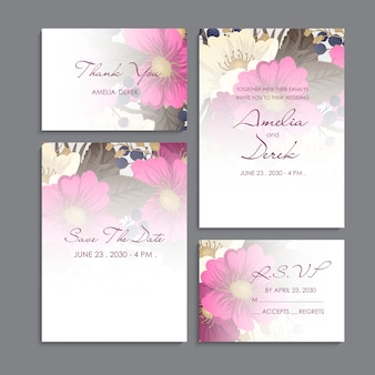 Приглашение на свадьбу, открытка с благодарностью, сохранение даты на карточке