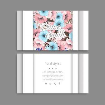 Цветочные визитки розового и синего цветов