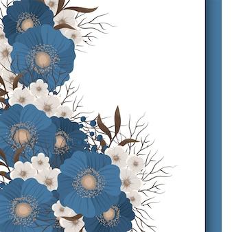 花のデザインボーダーブルーの花