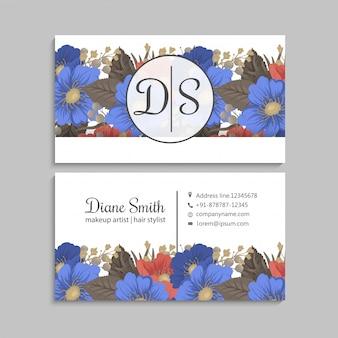 花ページボーダー青と赤の花