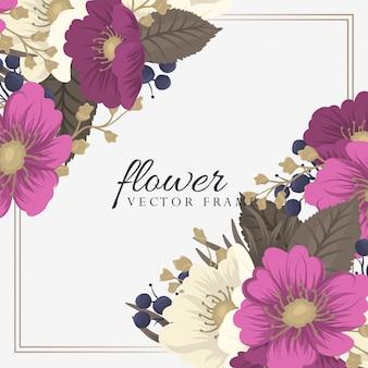 名刺テンプレートピンク手描きの花