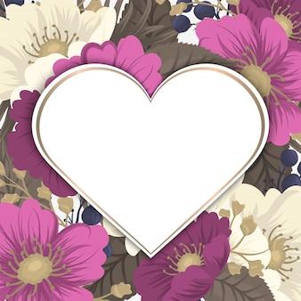 Любовная цветочная рамка день святого валентина