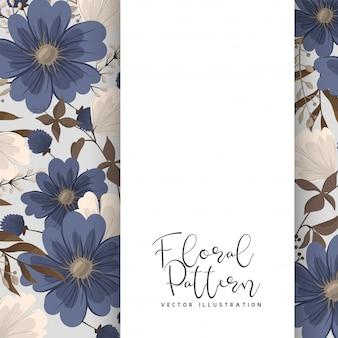 春の花ボーダーブルーフラワー