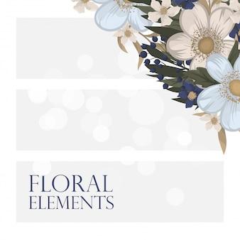 Цветочные узоры бордюра - светло-голубые цветы