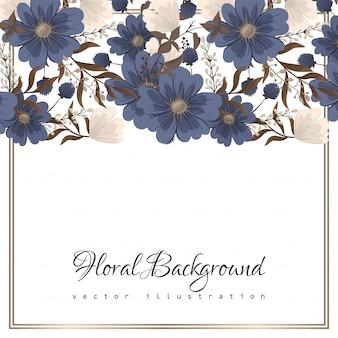 Цветочные узоры бордюра - голубые цветы