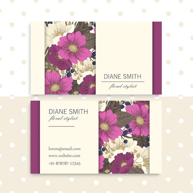 Шаблон визитки розовые рисованной цветы
