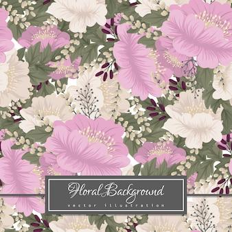 ピンクの花の背景のシームレスパターン