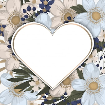 Белая рамка с цветами в форме сердца