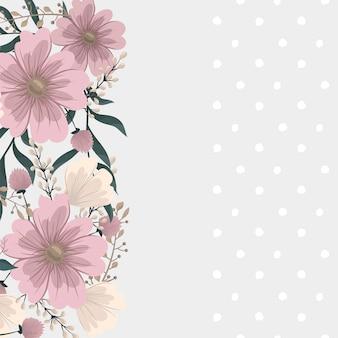 フラワーデザインボーダー-ピンクの花