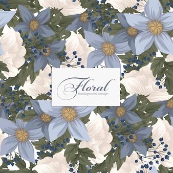 Голубой цветок бесшовный фон