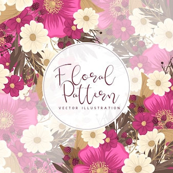 花の境界線の描画-ホットピンクの花