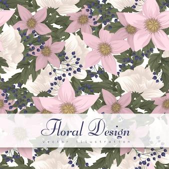 ピンクの花のシームレスパターン