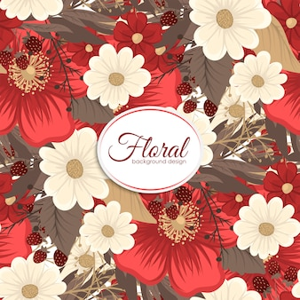 Красный цветок бесшовного фона