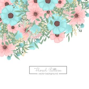 ミントグリーンの花の背景の花のボーダー