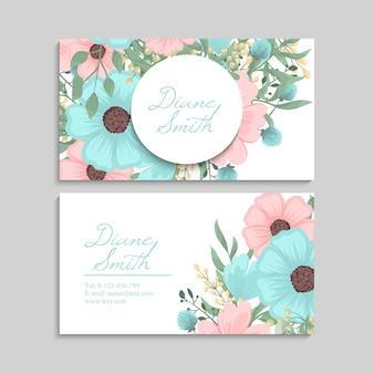 Цветочные визитки мятно-зеленые