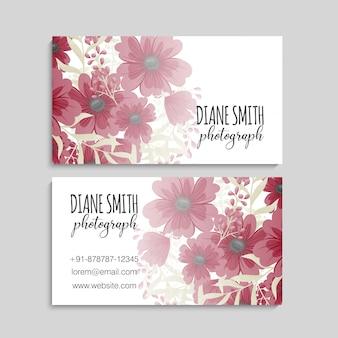 Цветочные визитки красные цветы