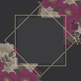 ヴィンテージの花の背景のホットピンクの花のフレーム